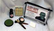 Frankenstein Monster Makeup Kit By Bloody Mary - Special Effects Halloween Costume Decoration - Professional Foundation Makeup, FX Blood, 5 Crayons, Setting Powder, 4 Brushes, Sponge & Zippered Case