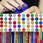 NICOLE DIARY 50Pcs/set Colourful Shimmer Starry Sky Nail Foil 4 x 20cm Manicure Nail Art Sticker Decoration