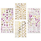 BMC By Bundle Monster Pink & Gold Metallic Foil Nail Art Stickers - Festival