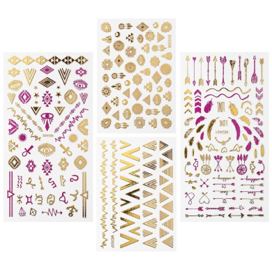 BMC By Bundle Monster Pink & Gold Metallic Foil Nail Art Stickers - Festival