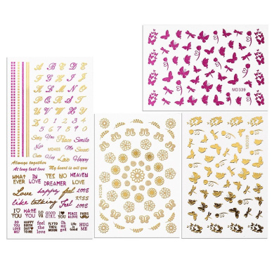 BMC By Bundle Monster Pink and Gold Spring Theme Metallic Foil Nail Art Stickers