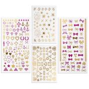 BMC By Bundle Monster Pink & Gold Metallic Foil Nail Art Stickers-Teenage Dream