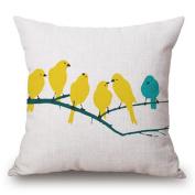 JYS Bird Geometric Pattern Linen Cushion Cover Waist Pillow Case