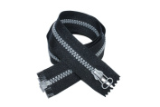 80cm #5 Open End Metallic Silver Moulded Zipper with Matching Colour Pull
