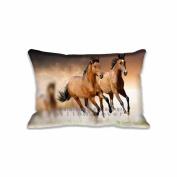 Horses Running Pillow Covers Protector Pattern Art Design Custom Rectangle Pillow Cases Standard Size 20x30