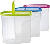 Kigima Muesli Cornflakes Bulk Box Large Storage Container 5.7 litre set of 3 Green / Blue / Pink