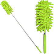 75cm Telescopic Microfibre Cleaning Duster Brush Extendible Soft Grip Handle New Easy Removable 15 X 5cm Washable Dust Head Lime Green