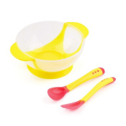 3Pcs/set Baby Training or Feeding Utensil With Suction Cup Assist Bowl Temperature Sensing Spoon Fork Tableware Kids Safety Dinnerware Set,Yellow