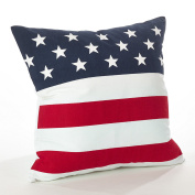 Fennco Styles Star Spangled Collection American Flag Design Cotton Throw Pillow Case 50cm Square