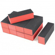 BOMIEN 10 x Black Red Nail Art Polisher 4 Way Buffer Buffing Sanding Block Filing Acrylic Natural Manicure File
