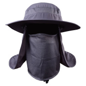 Messagee Army Green Fashion Summer Outdoor Sun Protection Fishing Cap Neck Face Flap Hat Wide Brim