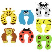 UOOOM 7 pcs Baby Kids Jammer Finger Pinch Guard Foam Door Stopper Colourful Cartoon Animal Designs Door Stop