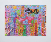 James Rizzi Look There Are Cows in the City Art Print Lithographie Trial Print Free Shipping No frame