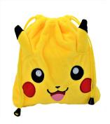 "Pokémon Pikachu Soft Plush Drawstring Lunch/Cosmetic Bag/Pouch 8""x8"" (20 x 20 cm)."