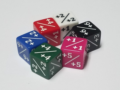 6x Rainbow Dice Counters +1/+1 for Magic: The Gathering and other games / CCG MTG