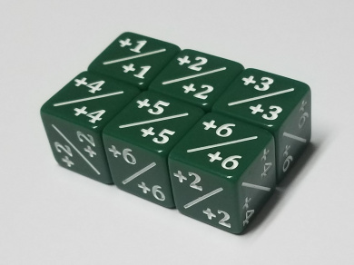 6x Green Dice Counters +1/+1 for Magic: The Gathering and other games / CCG MTG