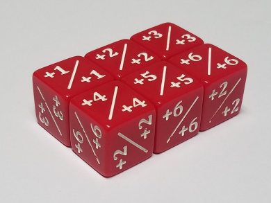 6x Red Dice Counters +1/+1 for Magic: The Gathering and other games / CCG MTG