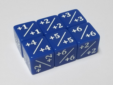 6x Blue Dice Counters +1/+1 for Magic: The Gathering and other games / CCG MTG