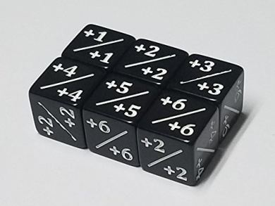 6x Black Dice Counters +1/+1 for Magic: The Gathering and other games / CCG MTG