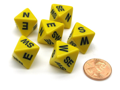 Set of 6 Compass Cardinal Direction 8 Sided Dice - Yellow with Black Letters