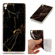 For Sony Xperia XA Case [With Tempered Glass Screen Protector],Qimmortal(TM) Silicone Case Printed Marble Stone Pattern TPU Bumper Protective Slim Gel Skin Rubber Case Flexible Shock Scratch Resist Protection Shell for Sony Xperia XA - Black Gold