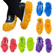 10pcs (5 Pairs) Mop Slippers Shoes Cover Easy for Floor Dust Dirt Hair Bathroom Office Kitchen House Polishing Dusting Cleaning, Soft Washable Foot Socks, Chenille Fibre 9.4 12cm