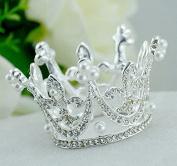Royal Girl Mini cake Topper Tiara Decoration Silver Rhinestone & Pearls Round Full Crown