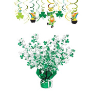 Saint Patrick's Day Decor Pack Featuring Amscan Mixed Whirls & Beistle Gleam 'N Burst Centrepiece Accessory - 2 Items Bundled by Maven Gifts