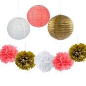 9PCS Coral Gold White Decorative Party Paper Pack Hanging Paper Lantern Pom Poms Wedding Flower Centrepieces Birthday Shower Hanging Paper Ball Decoration