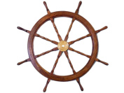 Brass and Wood Ship Wheel 90cm - Wooden Ship Steering Wheel - Ship Wheel Decorat