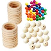 Assorted Macrame Wood Beads Macrame Wood Rings Macrame Wall Hanging Craft DIY Kit