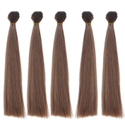 5pcs/lot,25x100cm Straight Dark Brown Heat Resistant Hair Wefts for Handcraft Doll Wigs
