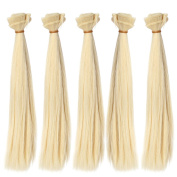 5pcs/lot,25x100cm Straight Right Blonde Heat Resistant Hair Wefts for DIY Doll Wigs Handcraft Material