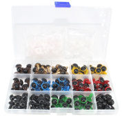 Bestartstore 1box(80pcs) 8colors Colourful Plastic Safety Eyes with Washers for Doll, Puppet, Plush Animal 12mm