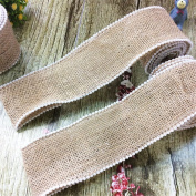 """USIX 2 Rolls Pack-2 Yards/Roll-5CM/1.96"""" Width Natural Jute Burlap Ribbon Webbing Tape With Pearls Trim for Arts Crafts DIY Gift Packing Wedding Birthday Baby Shower Decoration"""
