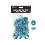 Mega Crafts 0.2kg Acrylic Large Diamonds Aqua | Plastic Glass Gems For Arts And Crafts, Vase Fillers And Table Scatters, Decoration Stones, Shiny Pebbles