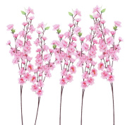 ULTNICE 6pcs Peach Blossom Branch Pink Artificial Flowers Decorative Flowers Wreaths