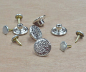 1.6cm no sew hammer on jeans denim tack button DIY 5 sets Antique silver finish