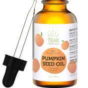 PUMPKIN SEED OIL by Teak Naturals - 100% Organic, Natural for Face, Hands, Scars, and Breakouts - 30ml