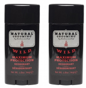Herban Cowboy Natural Grooming Maximum Protection Deodorant, Wild Scent (Pack of 2) with Aloe Vera, Rice, Rosemary, Parsley and Sage, Organic and 100% Vegan, Paraben and Aluminium Free, 80ml each