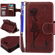 FESELE Samsung Galaxy J7 2017 Case PU Leather Flip Wallet Case [9 Card Slots and small mirror inside] [Girl Flower Cat Bird Pattern] PU Leather Bookstyle Wallet Case Magnetic Closure with Stand Function PU Leather Wallet Flip Cover Sleeve Card Slot and ..