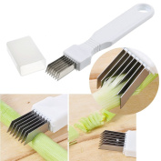Cutting Scallions Tool Kitchen Garlic Cutter Slicer Onion Crusher Knife Stainless Steel Cooking Tool