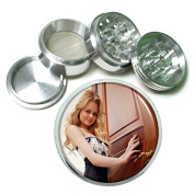 """Russian Russia Pin Up Girl S1 Chrome Silver 2.5"""" Aluminium Magnetic Metal Herb Grinder 4 Piece Hand Muller Herb & Spice Heavy Duty 63mm"""