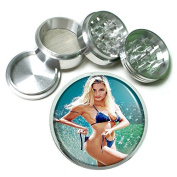 """Italian Italy Pin Up Girl S10 Chrome Silver 2.5"""" Aluminium Magnetic Metal Herb Grinder 4 Piece Hand Muller Herb & Spice Heavy Duty 63mm"""