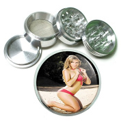 """USA Beach Babes Pin Up Girl S5 Chrome Silver 2.5"""" Aluminium Magnetic Metal Herb Grinder 4 Piece Hand Muller Herb & Spice Heavy Duty 63mm"""