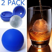 2 Pack 2X 3D Silicone Death Star Ice Cube Round DIY Mould Pudding Jelly Mould Ice Trays