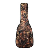ELEOPTION Folk Acoustic Guitar Gig Bag Case PU Padded Waterproof for 40 100cm with Double Strap and Outer Pockets