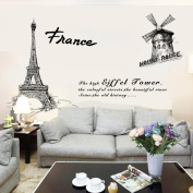 Tloowy DIY Paris Style Removable Wall Decal Family Home Sticker Mural Art Home Decor