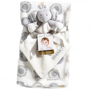 Baby Blanket Set Elephants and Owls with Elephant Security Blanket