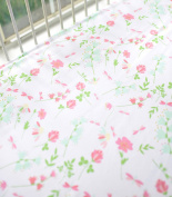 My Baby Sam Spring Floral Crib Sheet, Coral